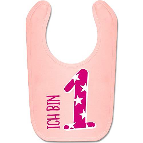 Shirtracer Geburtstag Baby - Ich bin 1 Rosa Mädchen Erster - Unisize - Babyrosa - BZ12 - Baby Lätzchen Baumwolle