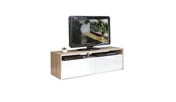 Longo Meuble Tv Coloris Blanc Et Chêne 2 Tiroirs Naturel Alinea