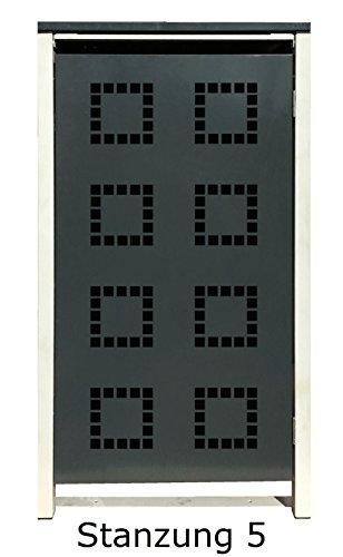 BBT@ | Hochwertige Mülltonnenbox für 2 Tonnen je 240 Liter mit Klappdeckel in Silber / Aus stabilem pulver-beschichtetem Metall / Stanzung 5 / In verschiedenen Farben sowie mit unterschiedlichen Blech-Stanzungen erhältlich / Mülltonnenverkleidung Müllboxen Müllcontainer - 6