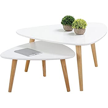 Popamazing Set Of 2 Modern White Gloss Triangle Top Nesting Tables Living  Room Side End Tables