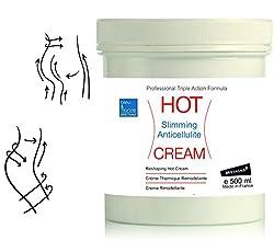 HOT CREAM Sport und Anti-Cellulite Creme 500 ml zur Verbesserung der Haut Kontur, mit angenehmen Wärme-Effekt und erfrischenden Duft, enthält Zimt und Algen● made in France