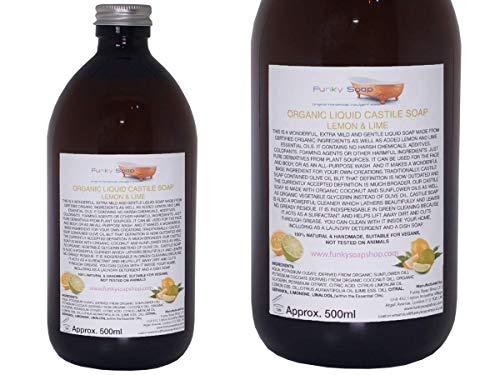 Organisches Kastilien Seife,Zitrone & Limette, Glasflasche von 500ml, 100% Natürlich & SLS Frei - Zitrone Natürliche Seife