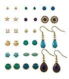 """SIX """"Basic"""" Damen Ohrring, Ohrstecker, Ohrhänger goldenes Ohrring Set, 16 Stecker & Hänger, mit türkisen und blauen Steinchen (429-451)"""
