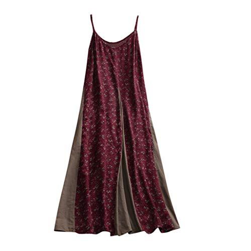 WINLISTING Frauen Casual Baumwolle und Leinen V-Ausschnitt Spaghetti Strap Printing Patchwork Kleider (Rot, L)