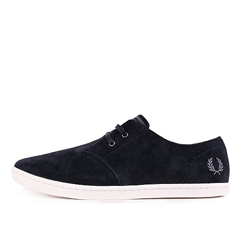 Fred Perry Byron Low Suede Navy Falcon Grey B7401248, Basket Bleu