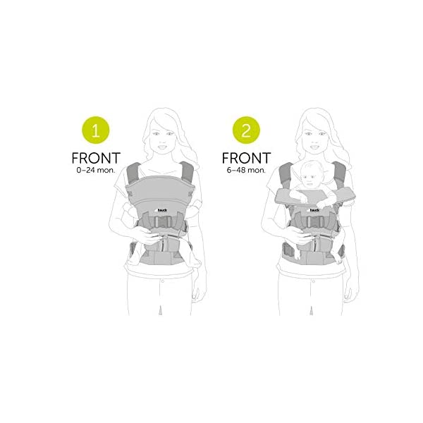 Hauck 2 Way Carrier, Ergonomic Baby Carrier Newborn to Toddler from Birth up to 12 kg, Softly Padded, Two Carrying Possibilities, High Level of Carrying Comfort, Melange Charcoal Hauck 2 carrying possibilities on the front Reinforced head and back area Safe and ergonomic baby carrier 9