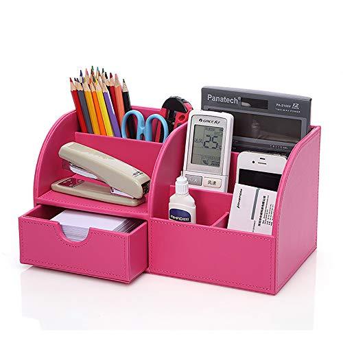 Elwow Schreibtisch-Organizer für Büro, Zuhause, Schule, Schreibtisch-Organizer, PU-Leder, Stiftehalter, Stiftehalter, Schreibwaren, Aufbewahrung, Schreibtisch-Zubehör mit Schublade rose pink