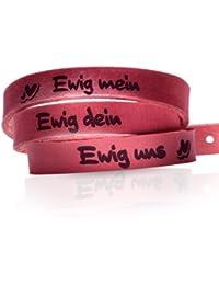 schenkYOU® Wickelarmband aus echtem Leder für Partner - Lederarmband in bordeaux rot - VORGRAVIERT MIT: Ewig dein Ewig mein Ewig uns