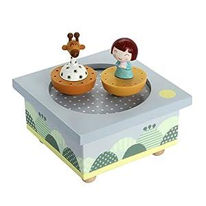 """La caja de música""""madera TR Ninon/Jirafa"""" caja Niños música (caja de música, caja de música), el regalo ideal para el nacimiento, bautismo, cumpleaños, etc."""
