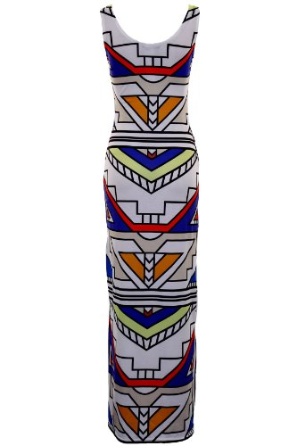 SAPHIR Damen Aztekenmuster Neon Streifen Damen Ärmellos Maxi Lang Sommerkleid 8-14 Weiß Azteken