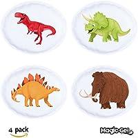 Magic Gel Handwärmer / Taschenwärmer mit Klickbetätigung, wiederverwendbar, Dinosaurier-Design, 4Stück