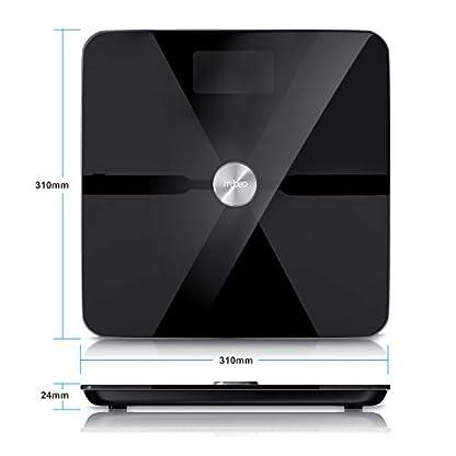 Mybeo – Bluetooth Bascula Grasa Corporal con App – iOS y Android – Determinación del IMC índice de masa corporal grasa corporal porcentaje de agua porcentaje muscular masa Max. 180kg