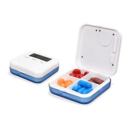 Wawer Pill Box Alarm Pille Veranstalter, Mini Portable Tägliche Pille Fall mit Digital Wecker Erinnerung für Pillen/Vitamin / Ergänzungen Reise im Freien 4 Fächer (Blau)