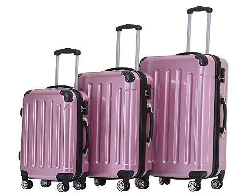 BEIBYE Hartschalen Koffer Trolley Rollkoffer Reisekoffer 4 Zwillingsrollen Polycabonat (Rosa, Kofferset)