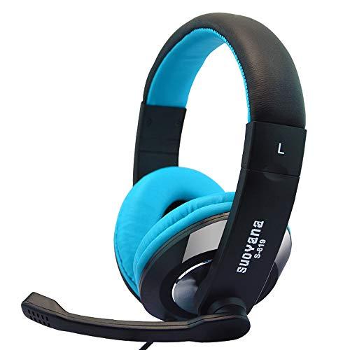 Cloodut Tragen Kopfhörer Kabelgebundene Headsets für Handys Zubehör für Tablets Headsets Gaming Kopfhörer Kopfhörer für PC Musikinstrumente DJ-Equipment Studio-Kopfhörer(BU)
