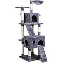 Eono Essentials Multi-Level Cat Tree Cat Tower with Hammock Sisal Scratching Post Interactive Toys Activity Center for Kittens Cats and Pets Grey 173CM/68''