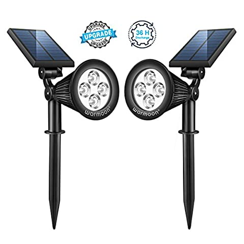 Warmoon Solar Lights Outdoor, 2-in-1 Solar Spotlight 180° Adjustable Waterproof LED Landscape Lighting Auto ON/OFF Security Wall Light for Gardens Backyard Driveway Patio Lawn Pool - 2