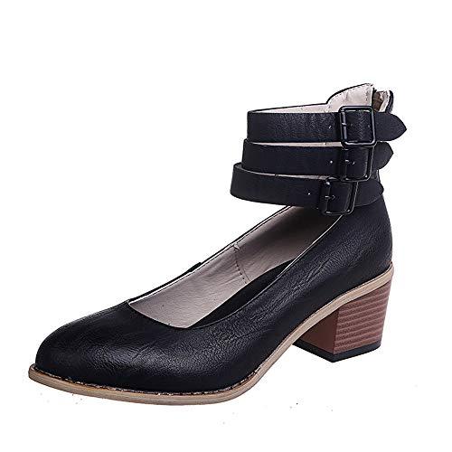 Damen Pumps Mary Janes mit Blockabsatz Plateau Frauen Chunky Heels 5 cm Sommer Frühling Party Schuhe Schwarz 38 Schwarze Retro Pumps