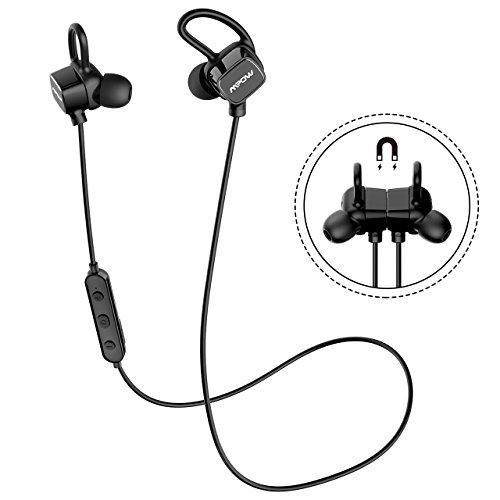 Bluetooth Kopfhörer Sport, Mpow 4.1 In Ear Ohrhörer IPX7 Wasserdicht Joggen Headset kabellos, CVC 6.0 Noise Cancelling Magnet Headset mit Mikrofon für iPhone X 8 6 6S PlusGalaxy S6 S7 Edge Schwar