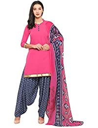 Kanchnar Women's Pink and Blue Crepe Top: Plain; Bottom: Printed Unstitched Dress Material - 620D18007