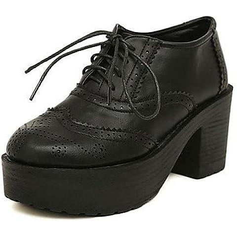 Scarpe donna punta tonda Chunky brevetto tacco cuoio scarpe Oxfords , Black-US8 / EU39 / UK6 / CN39 , Black-US8 / EU39 / UK6 / CN39
