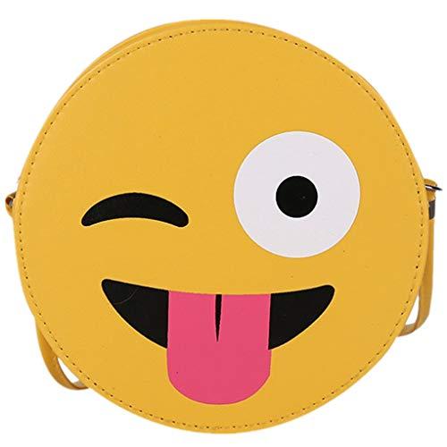 Dorical Kindergarten-Tasche Kleinkinder Süß Emoticon-Paket/Kleine runde Tasche Umhängetasche,Crossbody Casual Geldbörse Verstellbar für Jungen und Mädchen 2-7 Jahr(C)