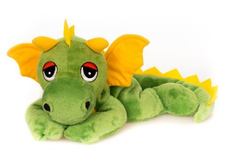 Habibi Plush Soft Toy Lucky Dragon Yellow / Green Heating Cushion for in the Microwave