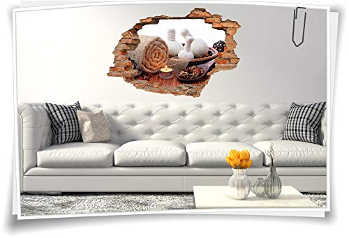 Wand-Tattoo-3D Wand-Aufkleber Wand-Bild Wand-Sticker Wand-Durchbruch SPA Sauna Bad Kerzen Balance Entspannung Meditation Erholung, 120x80cm -