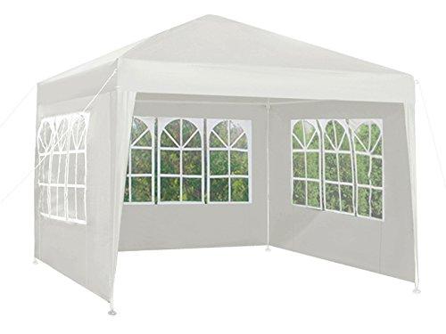 MALATEC Gartenpavillon Pavillon 3x3 + 3 Wände 3 Farben Gartenzelt #5119, Farbe:Weiß