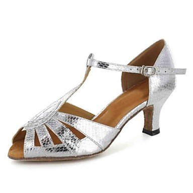 XIAMUO Anpassbare Damen Tanz Schuhe Kunstleder Kunstleder Latein Sandalen angepasste Ferse Praxis Anfänger professionelle Innen- Leistung Schwarz