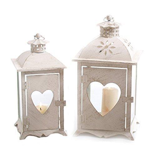 Windlicht - Laterne im Set 2 Stück mit Herz-Fenster für Teelicht oder Kerze