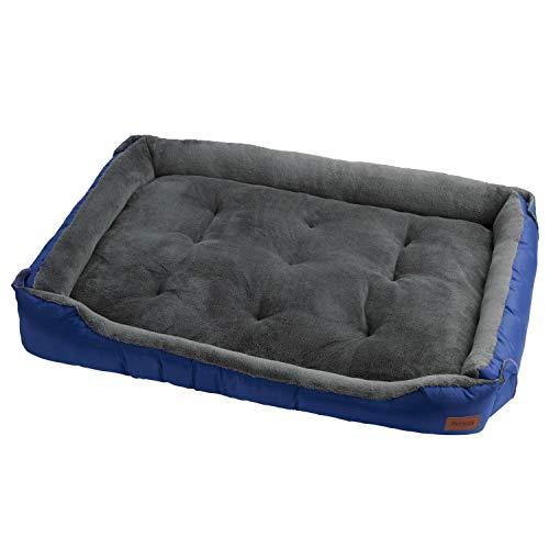Petsure Cama para Perros Medianos y Grandes 95x70x16cm L, Azul - Sofá Súper Acogedor y Cómodo para Perros