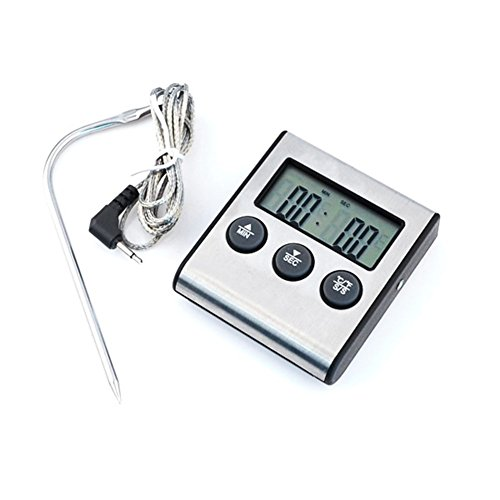 IDEALEBEN Digital Bratenthermometer Ofenthermometer Grill Timer mit LED Anzeige Silber