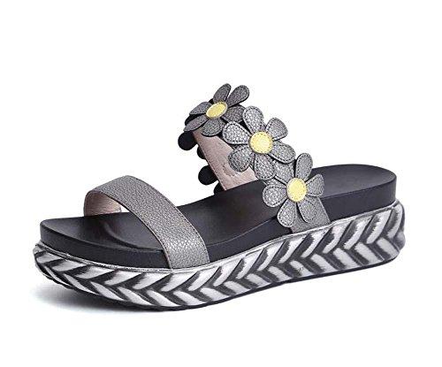 Coole Hausschuhe Echtleder Dicke Plattform Sandalen Frau Mädchen Blumen Offener Zeh Strandschuhe Lässige Schuhe Eu Größe 34-39 , iron ash , (Schuhe Spongebob Kinder)