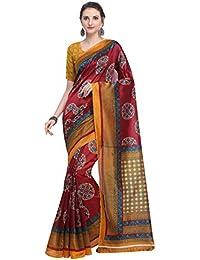 ALLVNEED Women's Printed Kalamkari Art Silk Sari