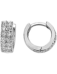 Jewelco London Rhodium Plated Sterling Silver Round Brilliant Cubic Zirconia Huggie Hoop Earrings 0.9cm