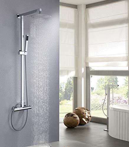 Design-Duschsystem Duschsäule Thermostat 8821C Basic - Auswahl Duschkopf eckig, Auswahl Duschkopf Quadrat:35x35cm