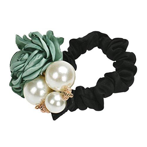 WINWINTOM Perlen Perlen-Rosen-Blumen-Haar-Band-Seil Scrunchie Pferdeschwanz -Halter GN