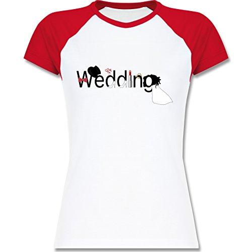 JGA Junggesellinnenabschied - Wedding - zweifarbiges Baseballshirt / Raglan T-Shirt für Damen Weiß/Rot