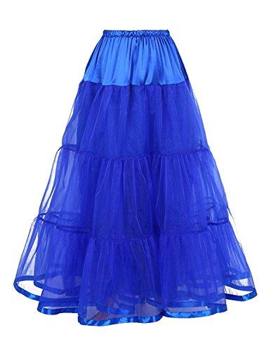 Caissen Damen Perlgarn Knöchellänge A-Linie Tütü Rock Krinoline Formelle Hochzeits-Slip Petticoat Unterrock Königsblau (Hochzeit Rock Slip)