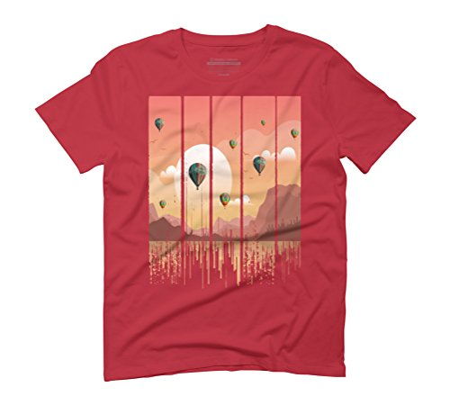 Grunge Dripping Sunset Celebration Men's Graphic T-Shirt - Design By Humans Red