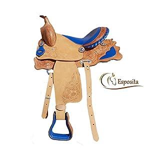 Esposita Westernsattel Prince für Pony und Shetty echtes Leder in Blau