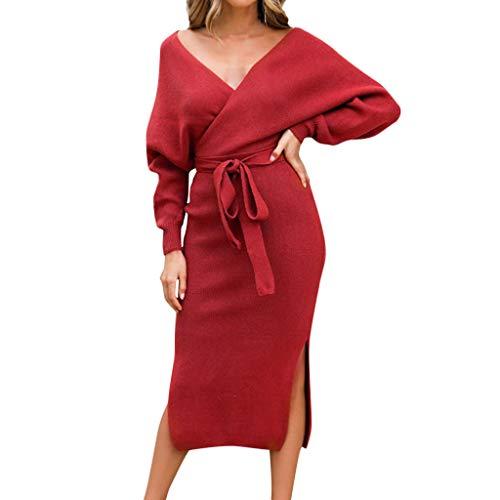 Damen Kleid Somerl Kleid Für Damen Elegant Frauen Arbeiten Festes V-Ansatz Bogen-Langes Hülsen Geöffnetes Gabel Randmidi Kleid Kleidung Für Damen(Rot,XL) Line Gabel