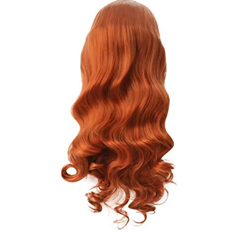 GreatFun26 Zoll Perücke Orange Lange gewellte Körper lockige Perücken Lace Front Perücke Haar Perücken für Frauen Hitzebeständige Faser synthetische Perücken für den täglichen Gebrauch, Party