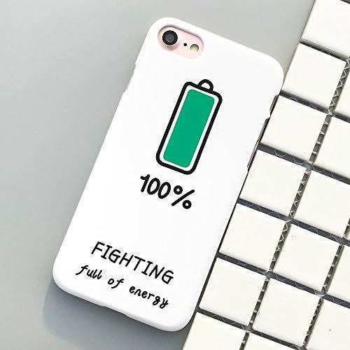 DREAMBAB Handyhülle Lustiger Batterie Kämpfender Fall Für iPhone 8 8Plus 7 7Plus Abdeckungs Plastikmatte Gummi Kasten Für iPhone 6 6S 6Plus 5 5S Se X, Weiß, Für iPhone X