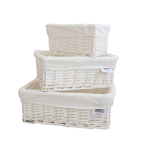 Arpan Korb mit Innenfutter, Weiß, 3 Stück Wicker Körbe Badezimmer