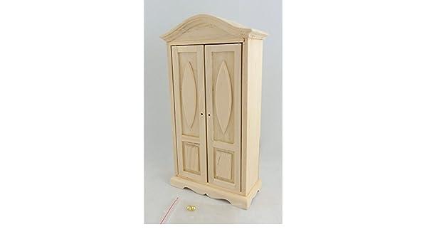 Melody Jane Dolls House Miniature Bedroom Furniture Lincoln Walnut Wardrobe