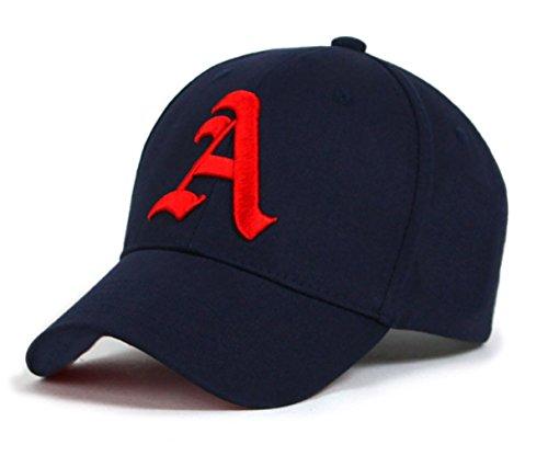 4sold New Casquette de Baseball Cap Letter A Garçon Fille Enfants Chapeau Bonnet Unisexe navy blue A red