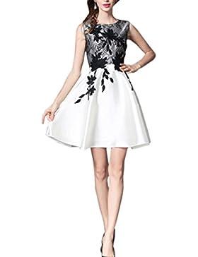 HJMTRY Ms una línea falda chaleco mostrar vestido de encaje fino bordado , picture color , s