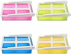 ShopAIS Plastic MultiPurpose Shelving Freezer Fridge Space Saver Storage Shelf Drawer Holder (Multicolour, Standard Size)